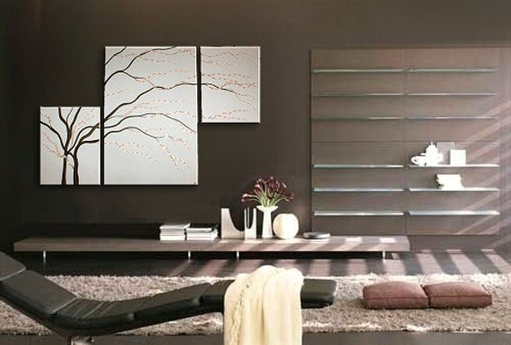Wall Decor Ideas For Spa : Black and white painting wall art cherry blossom elegant