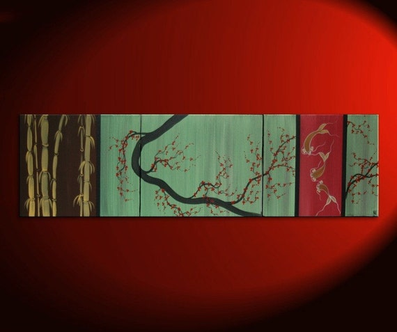 Large CUSTOM Chocolate Brown Green and Gold Cherry Blossom Koi Fish and Bamboo Painting Original Abstract Asian Zen Art 60x16