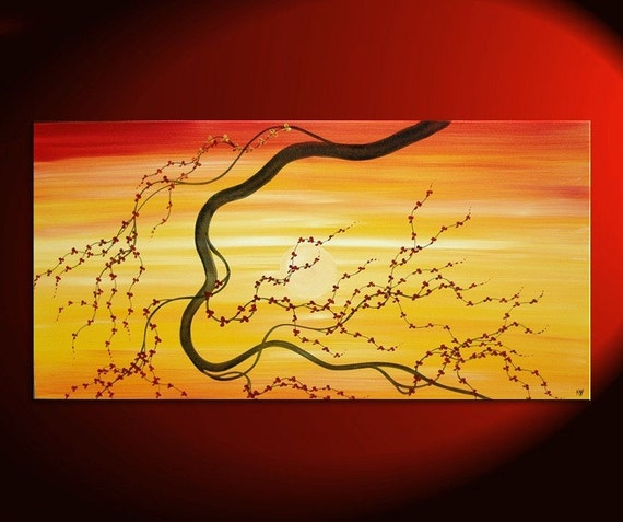 Sunset Painting Large Cherry Blossom Art Asian Style Art Yellow Red Orange Zen Abstract Textured Flowers Calming Colors 48x24 Huge