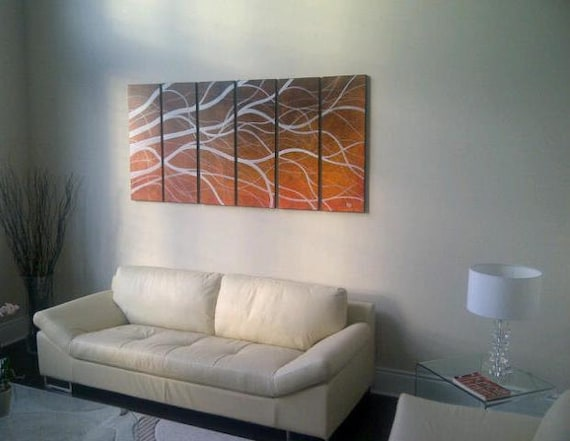 Brown and White Painting Tree Branches 6 Piece Multi Panel Modern Abstract HUGE Original Art Large Burnt Orange Custom 72x36