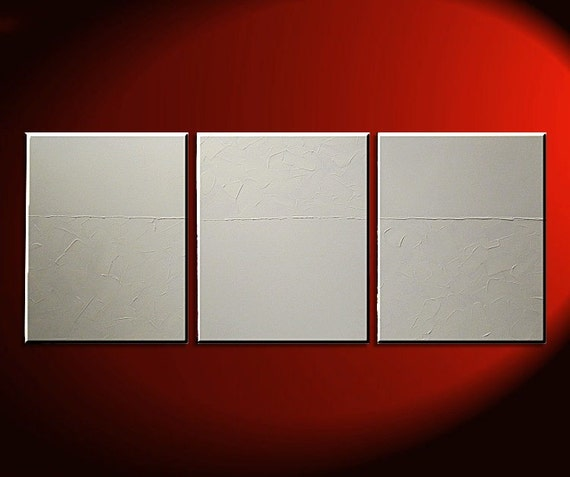 White Triptych Painting Textured Wall Art Original Abstract over three Canvases 48x20 Ships Quickly
