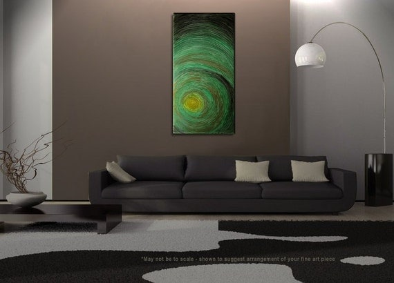 Large Modern Painting Impasto Green Textured Modern Abstract Art Urban Original Ships Fast Huge Big Wall Decoration 48x24