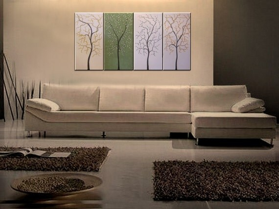 Large Modern Abstract Art Cherry Tree Painting Cream and Green Original Art over Four Canvases 60x30 Ready to Ship