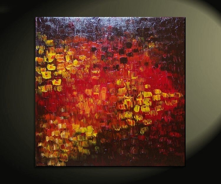 Red And Orange Painting Big Abstract Textured Painting Red Red Brown Orange Fall