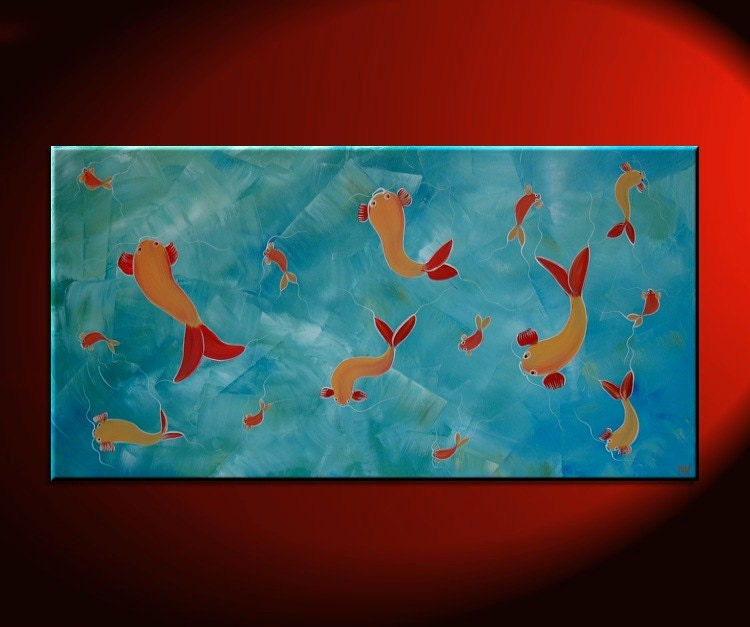 Large koi fish painting asian original art modern by for Original koi fish