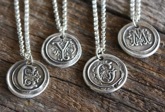 Vintage Inspired Initial Pendant - Fine Silver Wax Seal Style Necklace with Sterling Silver Chain