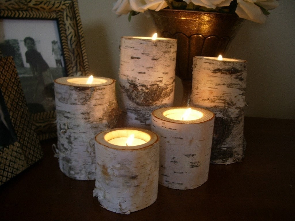 Birch bark log candle holders tea lights set of 5 for Log candle holder how to make