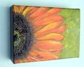 Orange Sunflower Block 2 Original Oil Painting