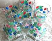 Vintage Golf Six Glasses Culver Drink Glass Set Fairway