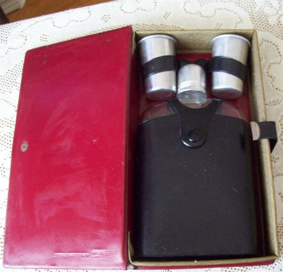 Barware 1968 Book Safe, flask and glasses concealed in a book