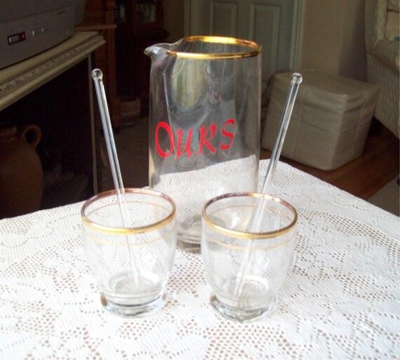 Mid Century Barware Our Cocktail Mixer Set Vintage Glasses and Glass Stir Sticks