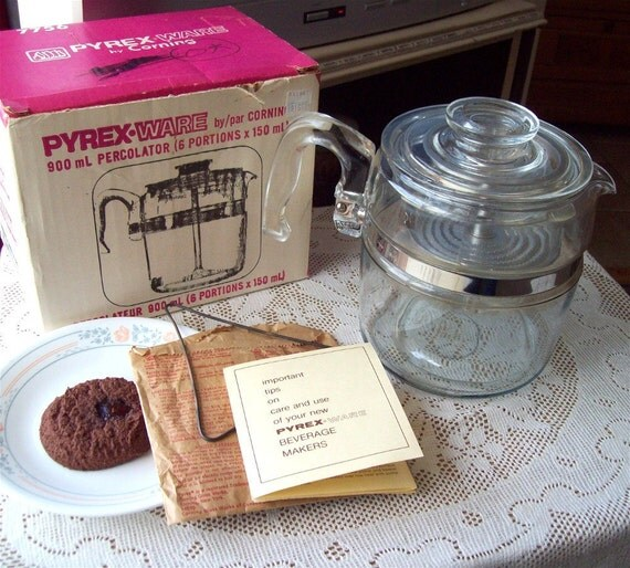 Pyrex Coffee Pot 6 cup 7756B Glass Percolator