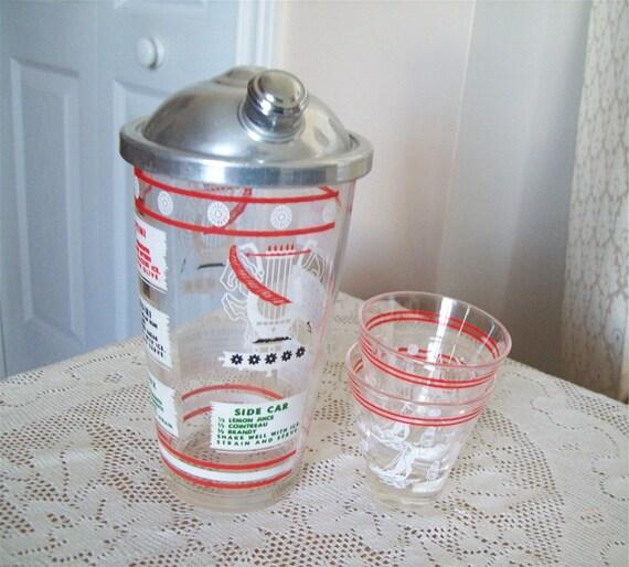 Vintage Glass Cocktail Shaker Red White Set Recipes Sports Barware Glasses