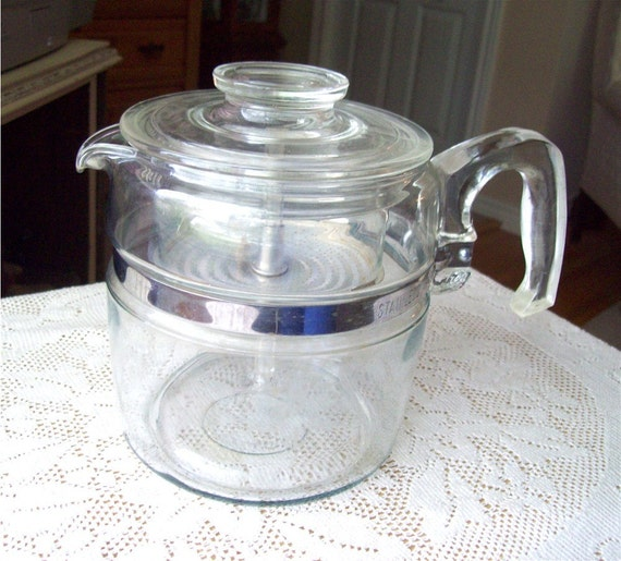 Pyrex Coffee Pot 6 cup 7756 B Glass Percolator