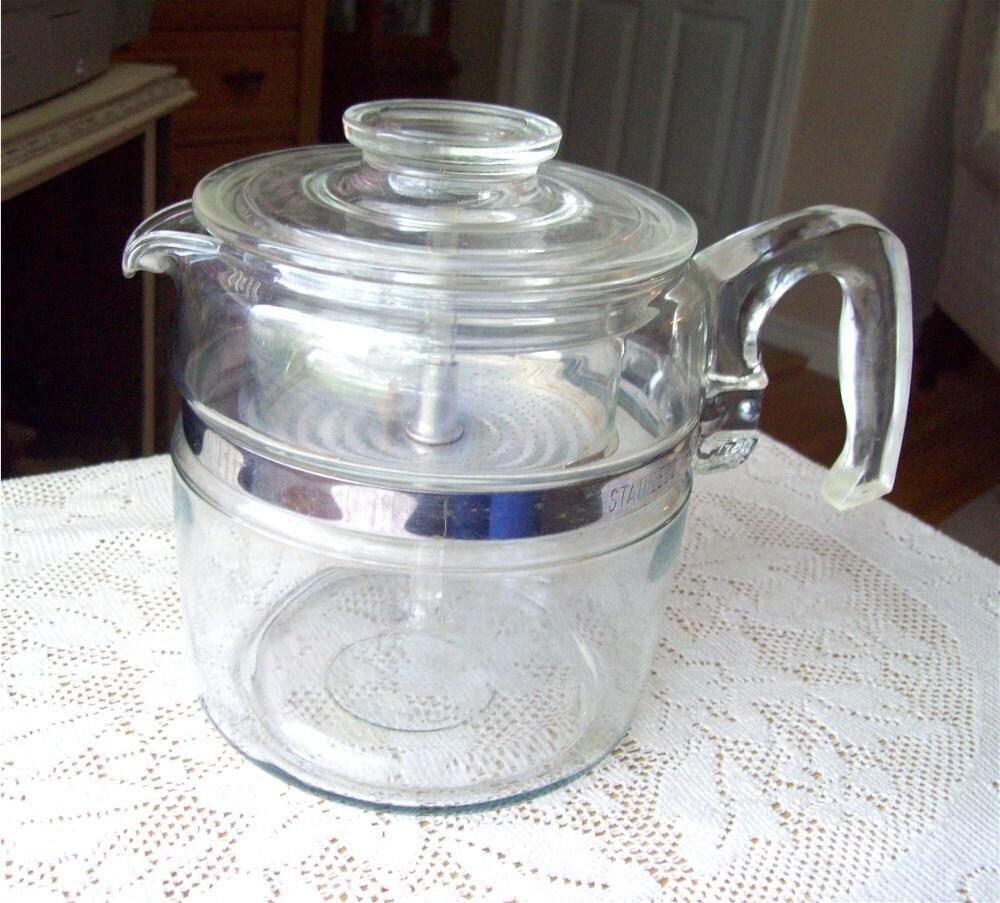 Coffee Maker Glass Pot : Pyrex Coffee Pot 6 cup 7756 B Glass Percolator