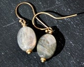 Be Still Earrings of Labradorite and Brass