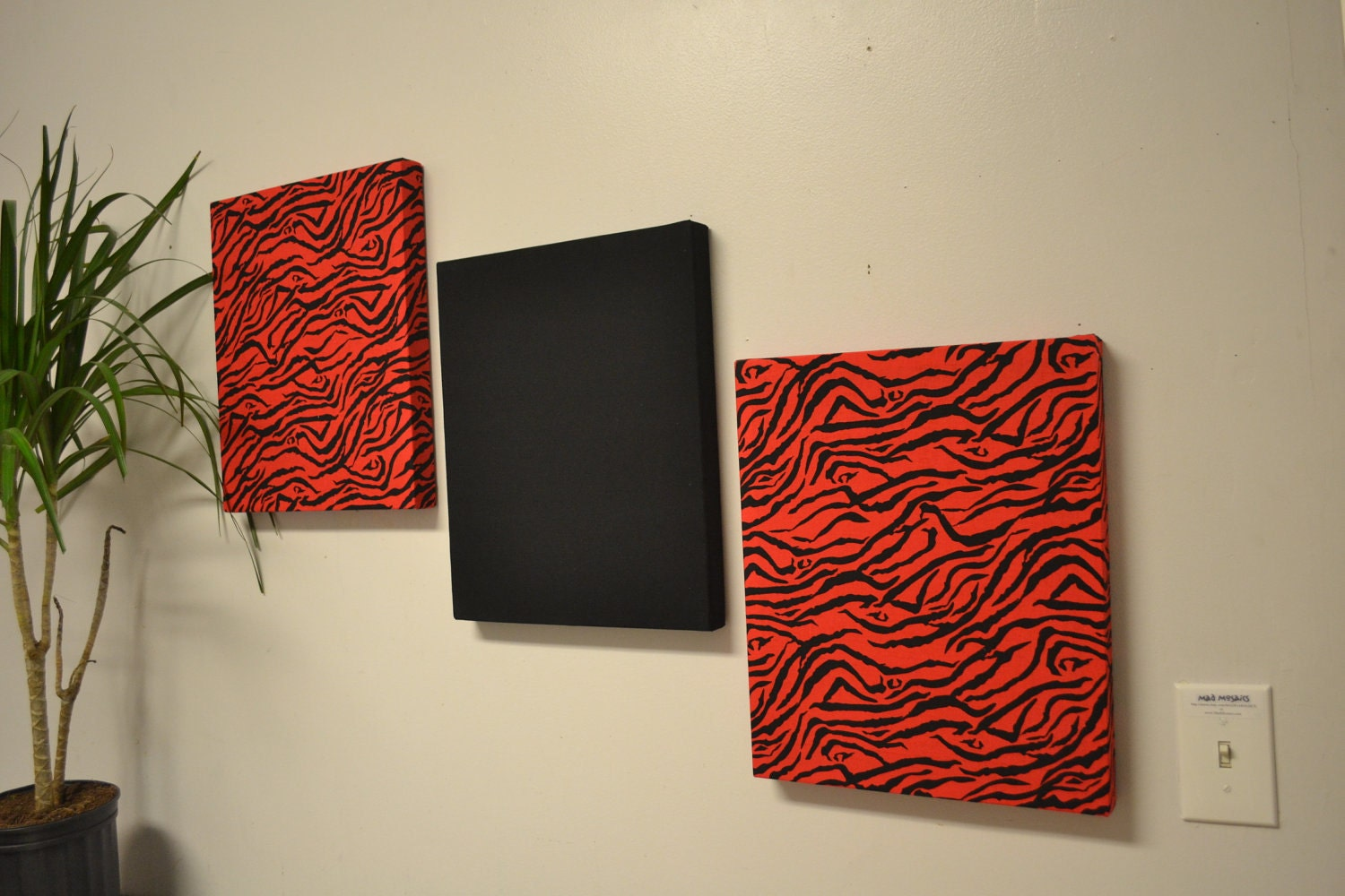 Red zebra wall decor canvas wall hangings black by madmosaics for Fabric wall art