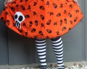 Malicia - Bright Orange Party Skirt with Skull Print - Large