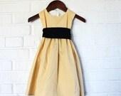 Girl's Butter Yellow and Gold Swirls Dress