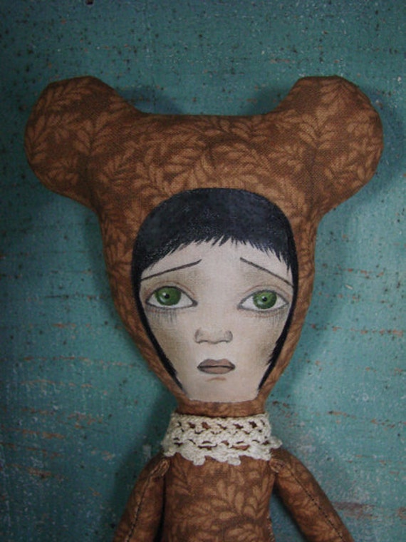 SALE No.6 Brown Bear Cloth Art Doll by Evelyn's Wonderland