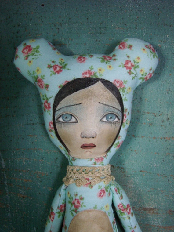 No.6 Blue Floral Bear Cloth Art Doll by Evelyn's Wonderland