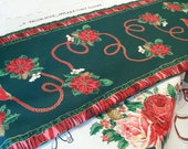 Christmas table runner plus poinsettia flowers, fabric panel