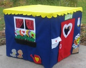 Kids Card Table Playhouse, Royal Blue Double Delight, Fits Your Card Table, Pickable Flowers, Custom Order, Personalized
