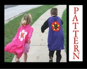 Super Hero Cape Pattern, No Sew Costume, eBook Instant Download, Includes Applique Patterns and Three Alphabet Sets, 20 minute project
