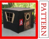 Sewing Pattern, Pirate Hideout Card Table Playhouse, Instant Download, Complete Pattern, Includes Full Alphabet Sets for Personalization