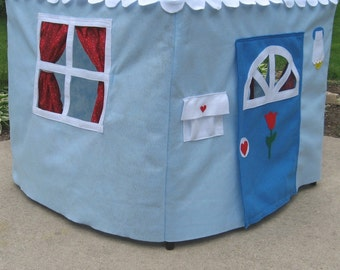 Card Table Playhouse, Kids Tent, Indoor Playhouse, Toddler Gift Basic  Bungalow with Curtains, Choose Your Colors, Custom Order