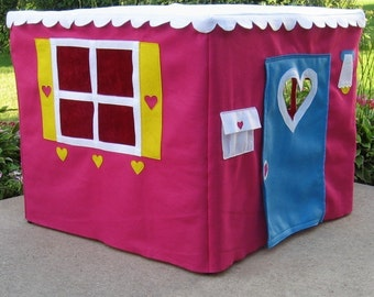 Card Table Playhouse, Indoor Playhouse, Fabric Playhouse, Toddler Gift, Kids Teepee, Play Tent,  Basic Bungalow, Custom Order
