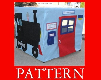 Train Station Card Table Playhouse Pattern Add On Applique Patterns, eBook Instant Download,
