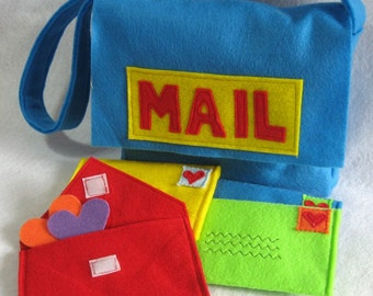 Mail Bag and Working Envelopes for Pretend Play, Mail Set, Custom Order