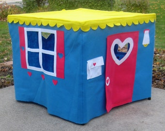 Card Table Playhouse, Basic Bungalow, Crystal Blue with Yellow Roof, Custom Order