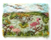 Flamingos Needle Felted Picture