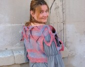 Felted  Vest  Romantic Striped   4 in 1 REVERSIBLE  (mixed merino wool and mulberry silk)