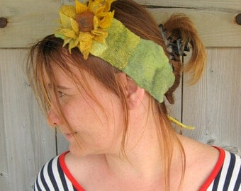 Nuno Felted Sunflower  Headband - Summer Light