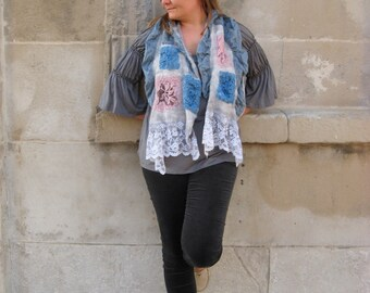 Nuno Felted Scarf Shabby Chic Style with Vintage Style Lace