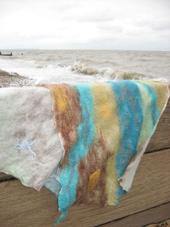 SALE Felted Scarf - Wash of Thames Reversible