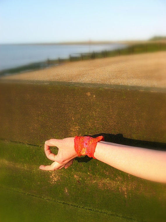 Pixie Felted Beaded Hand Cuff - Loving Sunset
