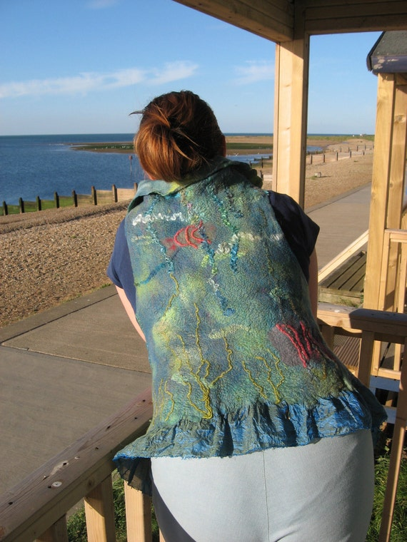 Felted  Art Vest -  Aquarius Art  REVERSIBLE  (mixed merino wool and mulberry silk)