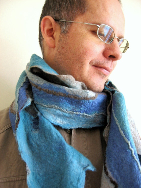 Felted Scarf  Men Women Unisex Long   (mixed merino wool and mulberry silk)