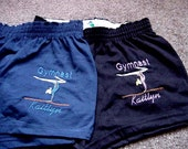Gymnastics Gymnast shorts Team Squad Competition Youth Personalized Embroidered  Girls
