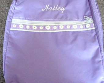 Sale Lilac with Daisy Trim  Backpack Bookbag Personalized Girls Toddler Daycare Overnight School Camp Preschool Daycare Kindergarten