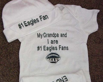 Philadelphia Eagles Football Baby Infant Newborn Creeper Short or long Sleeves Hat Cap Beanie Set Personalized Embroidered