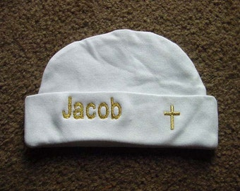 Personalized Baptism Christening Boy Girl Baby Infant Newborn Hat with Cross