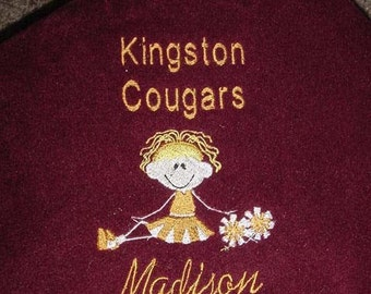 Personalized Cheerleader Team Fleece Blanket Throw  50x 60  Many colors Embroidered Girls