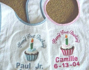 Personalized Happy First Birthday Bib Boy Girl Cupcake  Embroidered  Babys