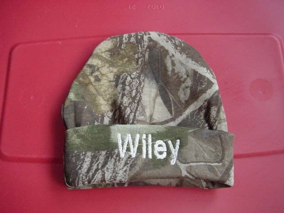 Personalized Infant Newborn Baby Beanie Hat Cap Embroidered Camouflage Camo for Boy or Girl