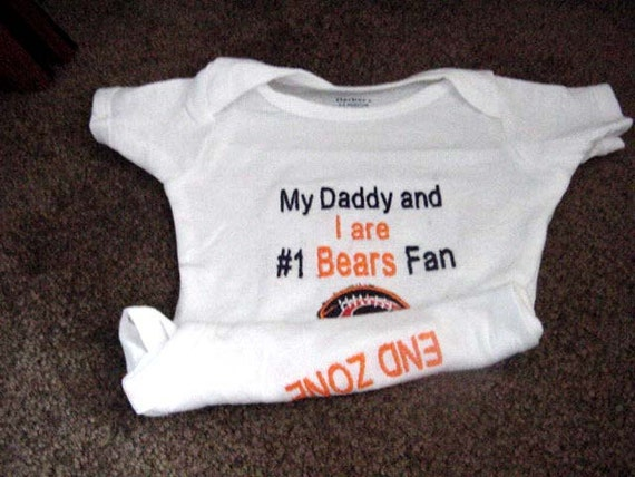 Chicago Bears  Football Baby Infant Newborn Onesie Creeper Short or long Sleeves My Daddy My Mommy My Aunt My Uncle Personalized Embroidered